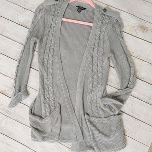 Grey Cable knit open Cardigan sweater pockets